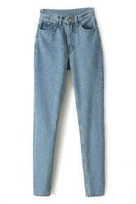 High-waisted Casual Blue Jeans