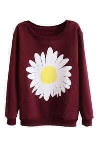 Unique Daisy Print Elastic Sweatshirt