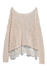 ROMWE Lace Hem Loose Knitted Jumper