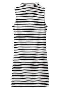 ROMWE Turtleneck Sleeveless Striped Dress