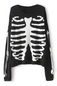 ROMWE Skeleton Knitted Black Jumper