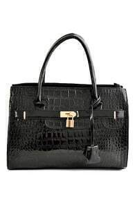 ROMWE Lock Embellished Black Tote