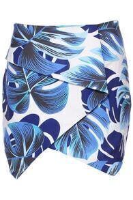 ROMWE Leaves Print Asymmetric Blue Bodycon