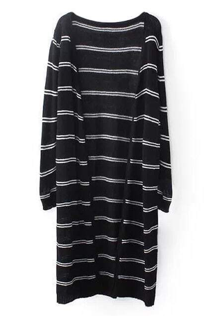 ROMWE Striped Long Black Cardigan