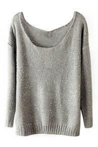ROMWE Sequined Sheer Grey Jumper