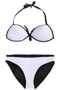 ROMWE Halter Contrast Trimming Pink White Bikini