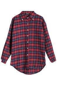 ROMWE Check Buttoned Long Sleeves Shirt
