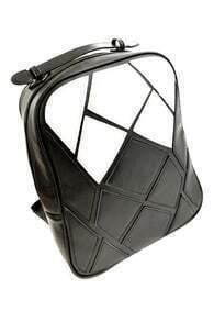 ROMWE PU Plaid Color Block Backpack