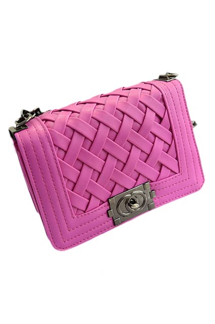ROMWE Weave Shaped Surface Rose Chain Bag