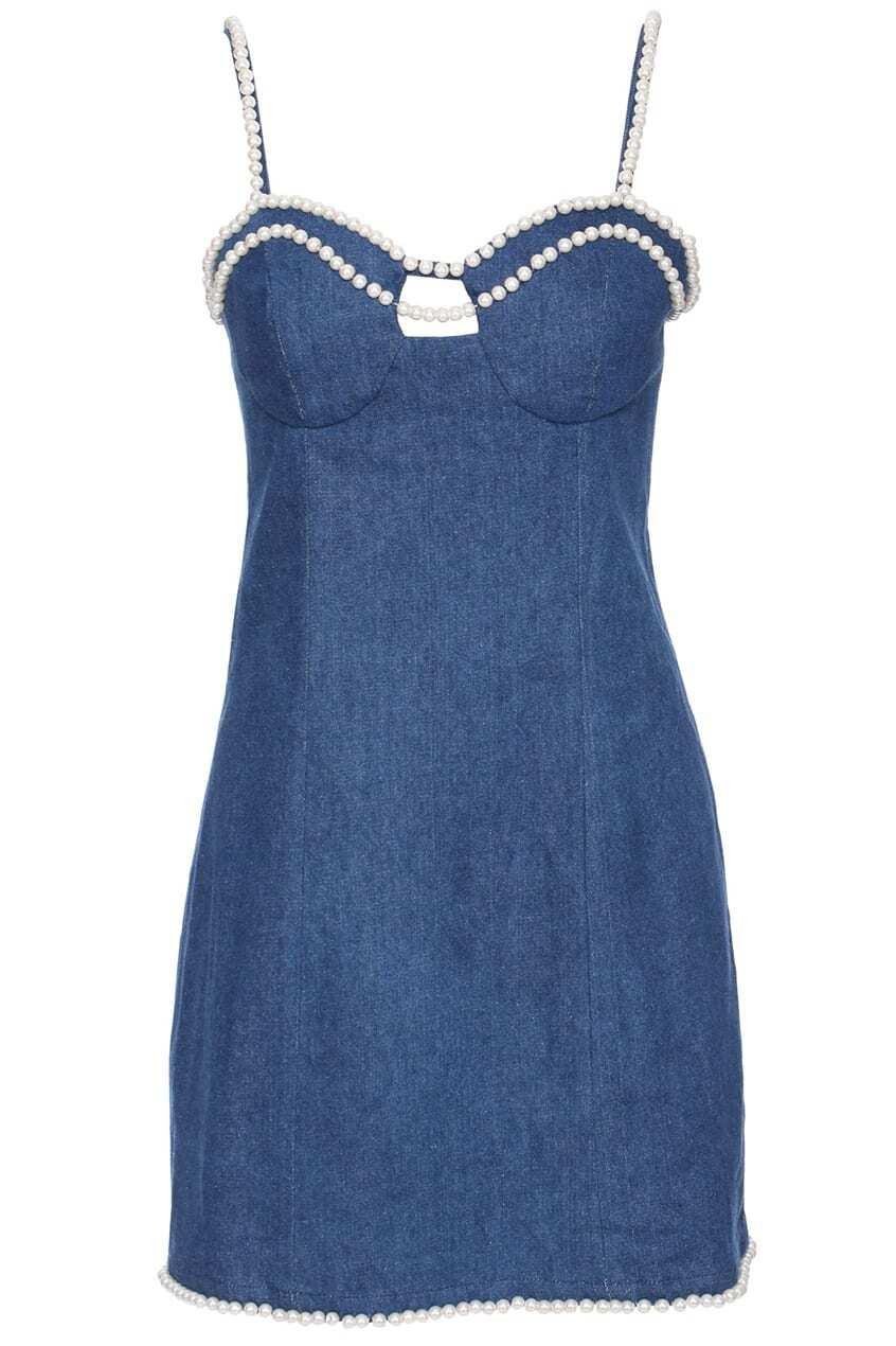 ROMWE Beaded Blue Denim Camisole Dress