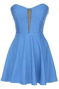 ROMWE Off Shoulder Blue Bandeau Dress