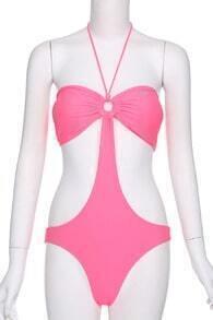 ROMWE Sexy Halter Peach Swimwear
