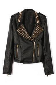 ROMWE Riveted Lapel Zippered PU Jacket