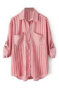 ROMWE Striped Rolled-cuffs Buttoned Red Shirt