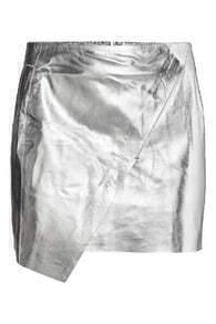 ROMWE Metalic Asymmetric Silvery PU Skirt