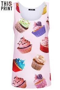 This Is Print Cup Cake Print Vest