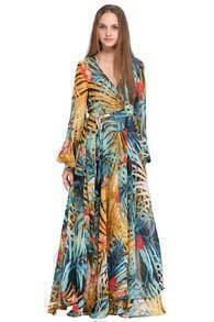 ROMWE Rainforest Print Self-tied Crepe Maxi Dress