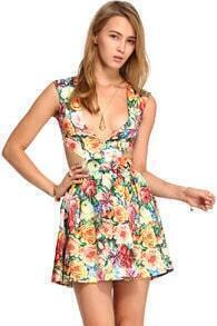 ROMWE V-neck Cut-out Floral Print Pleated Dress