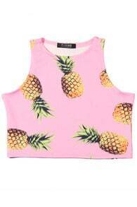 ROMWE Pineapple Print cropped Pink Vest