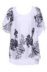 ROMWE Flower Embroidered White Short-sleeved T-shirt