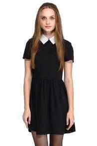 ROMWE Dual-tone A-line Little Black Dress