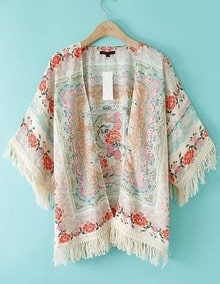 ROMWE Kimono suelto Floral flecos