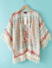 ROMWE Tassels Floral Print Loose Kimono