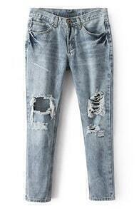 ROMWE Distressed Cut-out Pocketed Cool Jeans