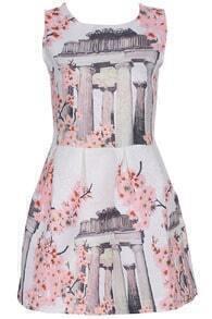 ROMWE Roman Architecture Print Pink Sleeveless Dress
