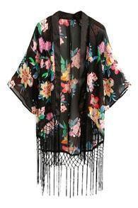 ROMWE Floral Print Tassels Embellishment Buttonless Kimono