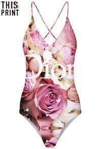This Is Print Rose Print Halter Top Single Piece Swimsuit