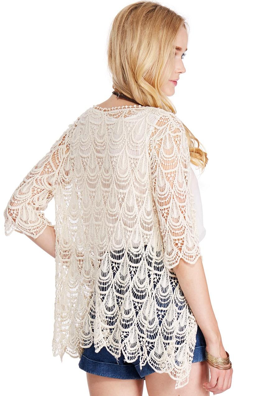 ROMWE Lace Crochet Apricot Short-sleeved Cardigan