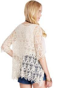 ROMWE Lace Crochet Apricot Short-sleeved Cardigan