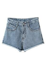 ROMWE Distressed Ribbed Hems Shorts