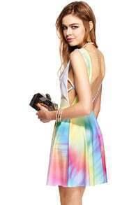 ROMWE Colorful Print Sleeveless Dress