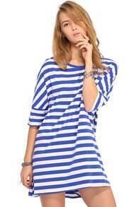 ROMWE Striped Asymmetric Loose Blue-white Dress