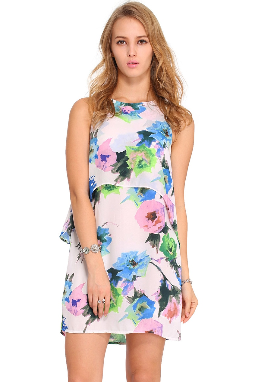 Romwe Double Layered Floral Print Dressfor Women Romwe