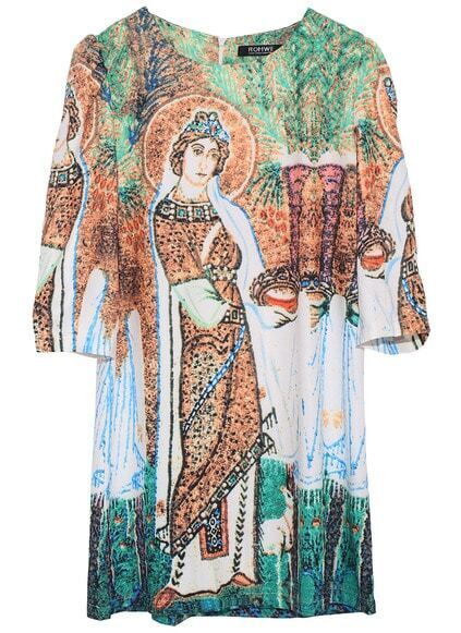 ROMWE  Windstorm Art Digital Print Dress
