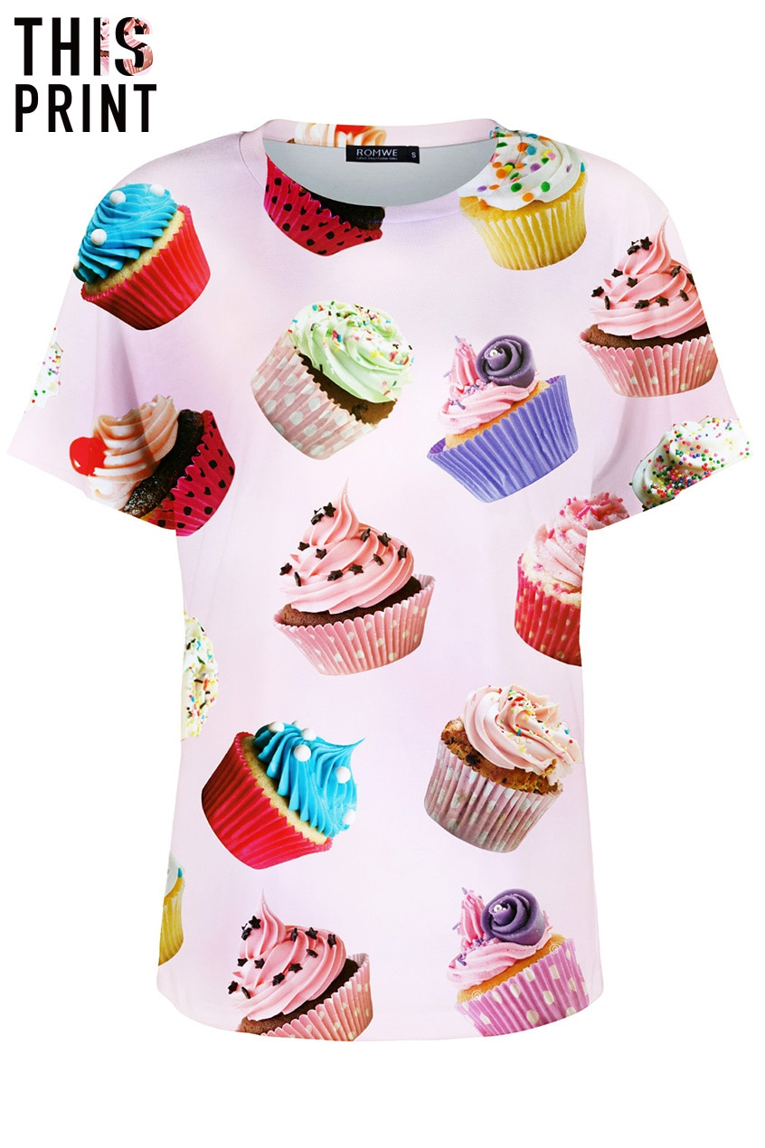 This Is Print Cup Cakes Print Pink T Shirtfor Women Romwe