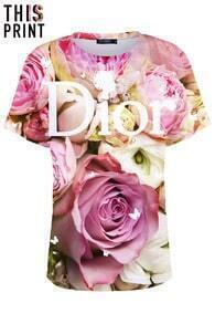 This Is Print Dior & Roses Print T-shirt