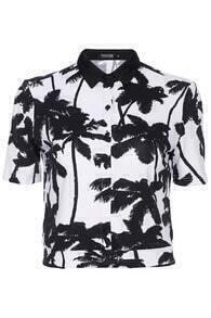 ROMWE Palm Print Midriff Shirt