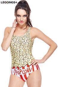 ROMWE Cartoon Popcorn Print Swimsuit