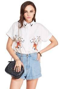 ROMWE Deer Print Short-sleeved White Shirt