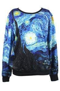 ROMWE Starry Sky Print Long-sleeved Sweatshirt