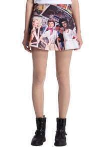 ROMWE Four Barbie Beauties Print Skirt