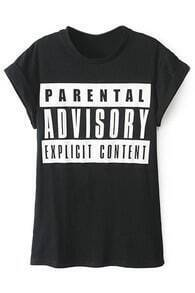 ROMWE Graffiti Letters Print Rolled-cuffs Black T-shirt