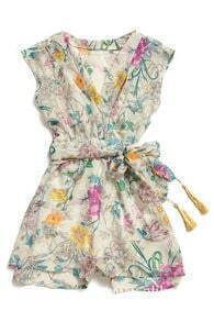 ROMWE Belted Floral Print Playsuit