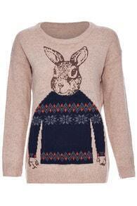 ROMWE Rabbit & Snowflake Knitted Long Sleeves Khaki Jumper