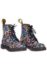 ROMWE Floral Print Lace-up Ankle Boots