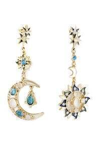 ROMWE Moon&Sun Shaped Pendant Earrings
